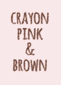 Crayon สีชมพูและน้ำตาล / วงกลม