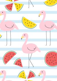 Flamingo and watermelon-Blue border-