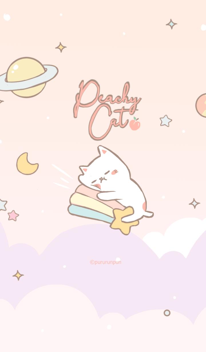 Peachy Cat on Pink Galaxy