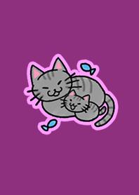 Heartwarming cat Parents child Pink