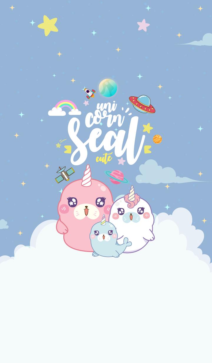 Seal Unicorn Galaxy Cute Blue