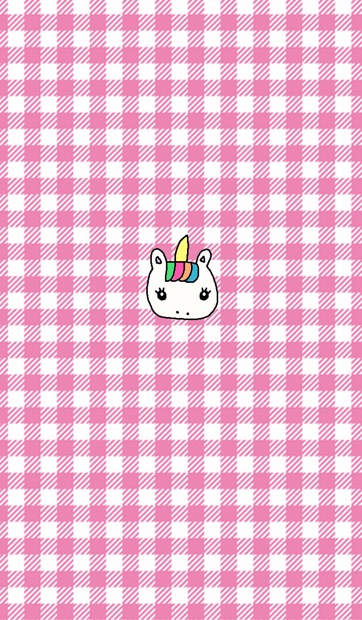 simple unicorn pink check