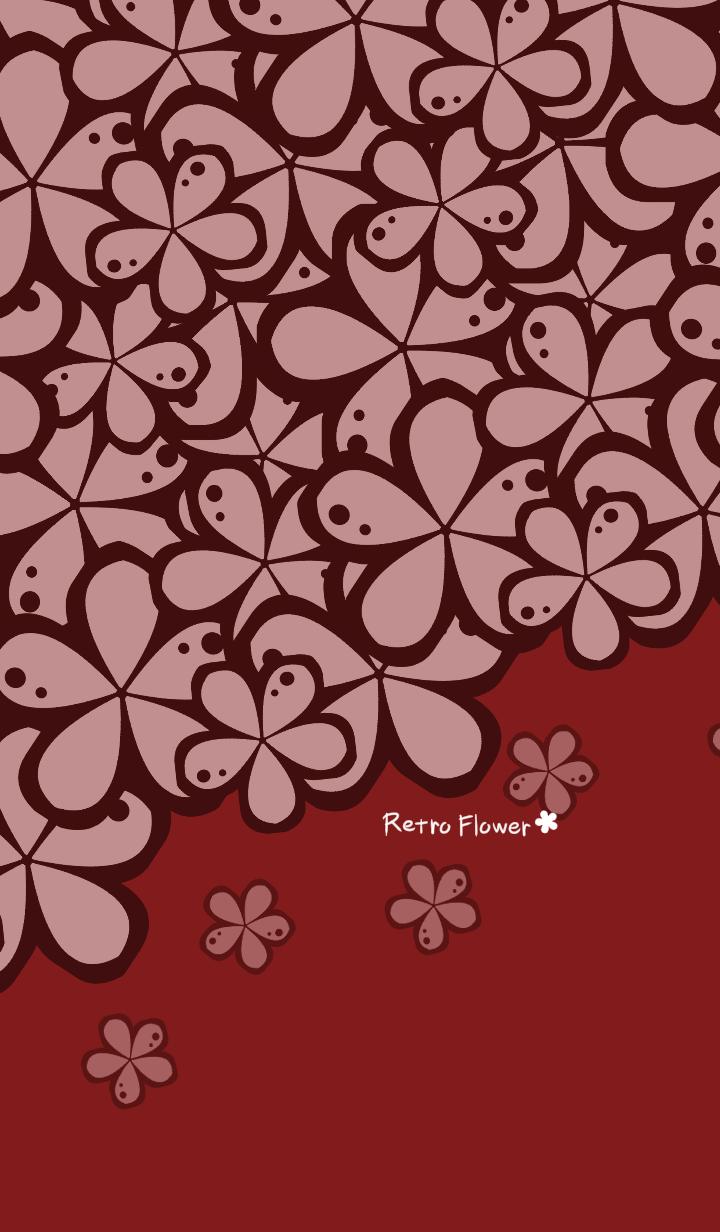Retro flower -Red-