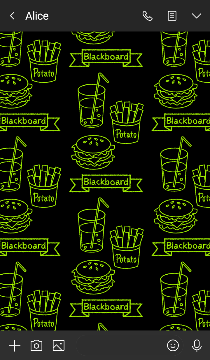 Blackboard -Yellow green neon food-