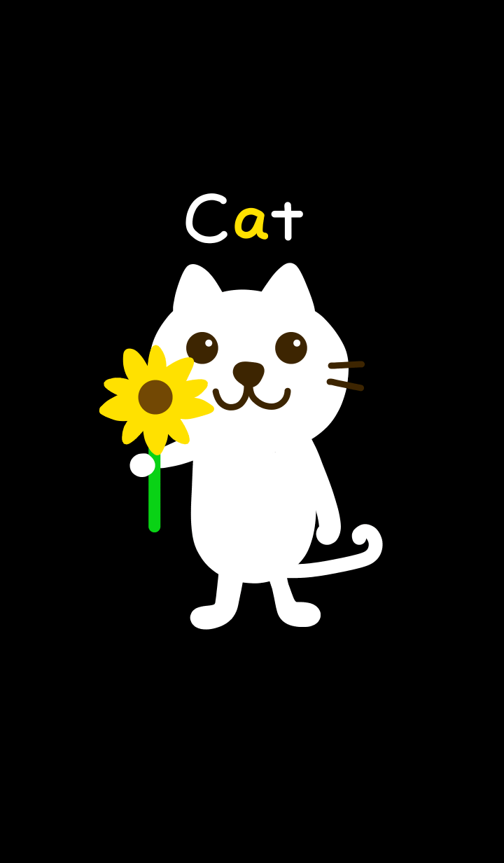 White cat and flower from J