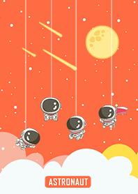 可愛寶貝太空人-星光閃閃(橘色星空)
