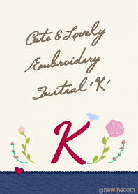 Cute & Lovely embroidery Initial 'K'