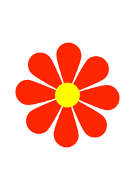 Simple Red Flower [ White ] var. 1