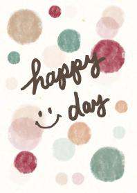 Happy day smile -watercolor Polka dot2-