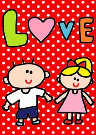 LOVE LOVE x (red dot)