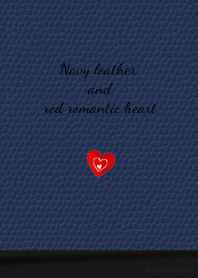 Navy leather and red romantic heart