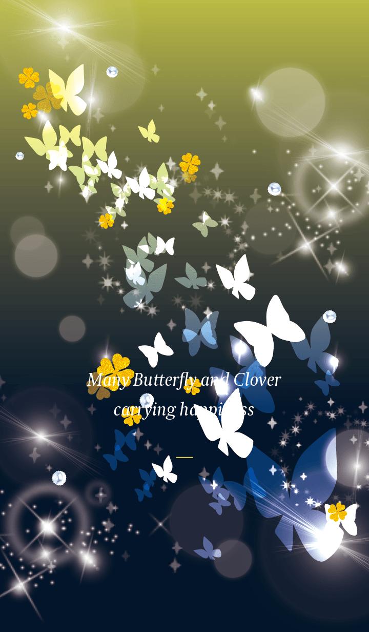 Black Yellow : Lucky butterfly & clover