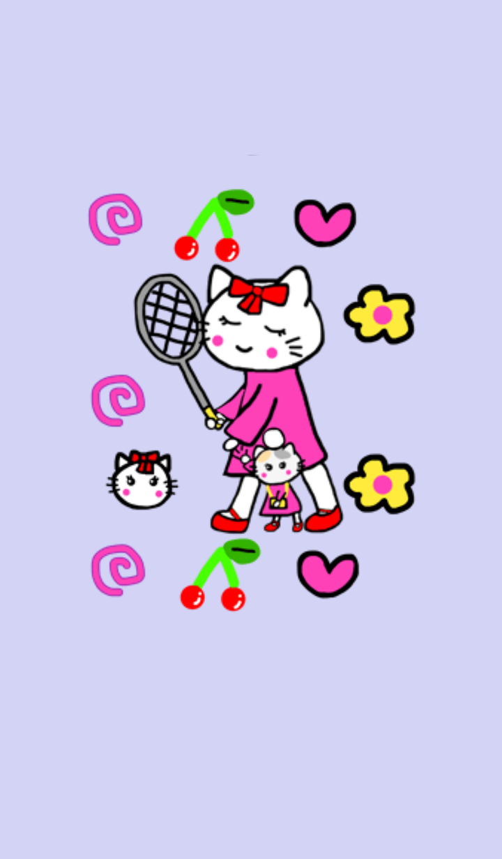 White cat mommy.Soft tennis vr.Purple1