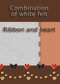 Combination of white felt<Ribbon,heart>