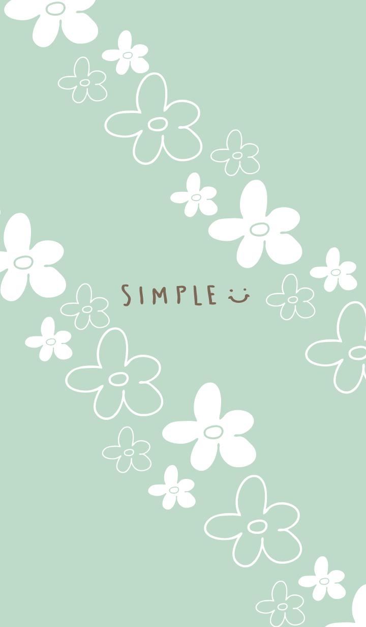 Handwritten flower Darkish Green2 Japan