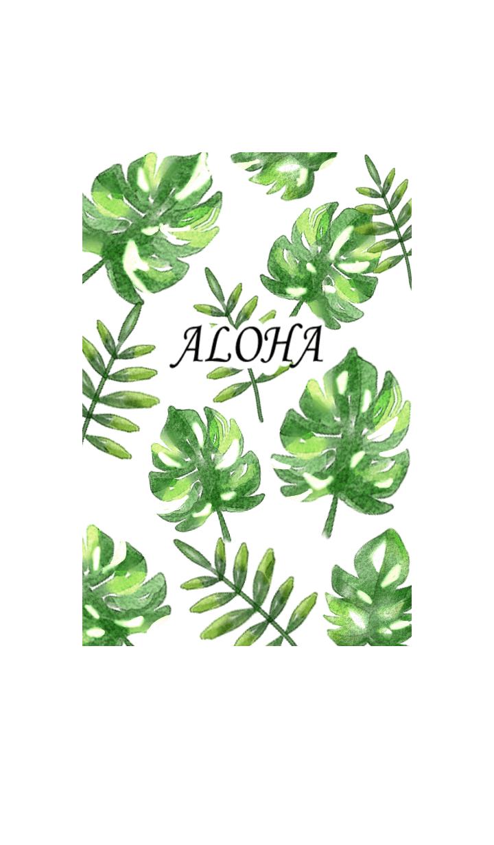 水彩爽やか夏の植物・グリーン
