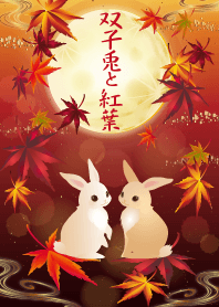 Twin rabbits and autumn leaves