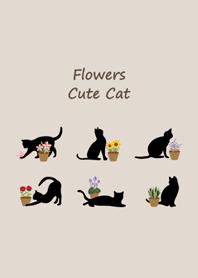 黑貓咪愛花朵