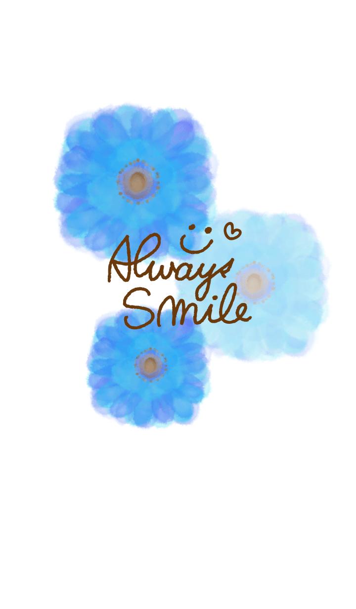 水彩青お花-スマイル3-