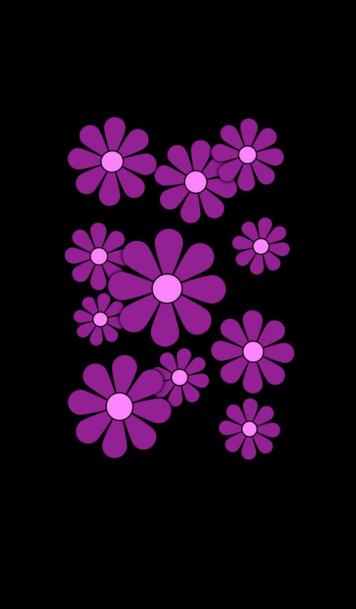 Retro Flower without logo ( Purple )