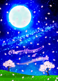Cherry blossoms at moonlight.