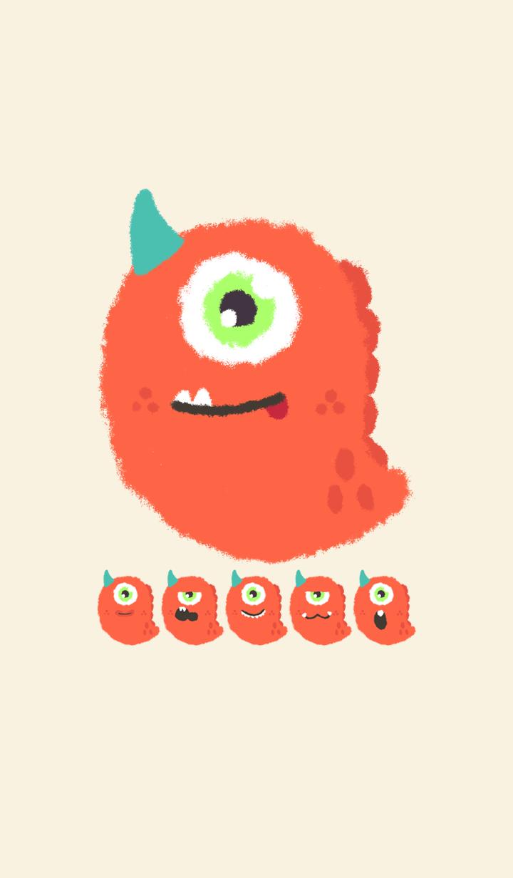Kawaii orange monster