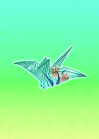 Japanese paper crane light blue