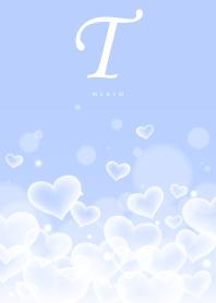 INITIAL -T- Heart blue cloud