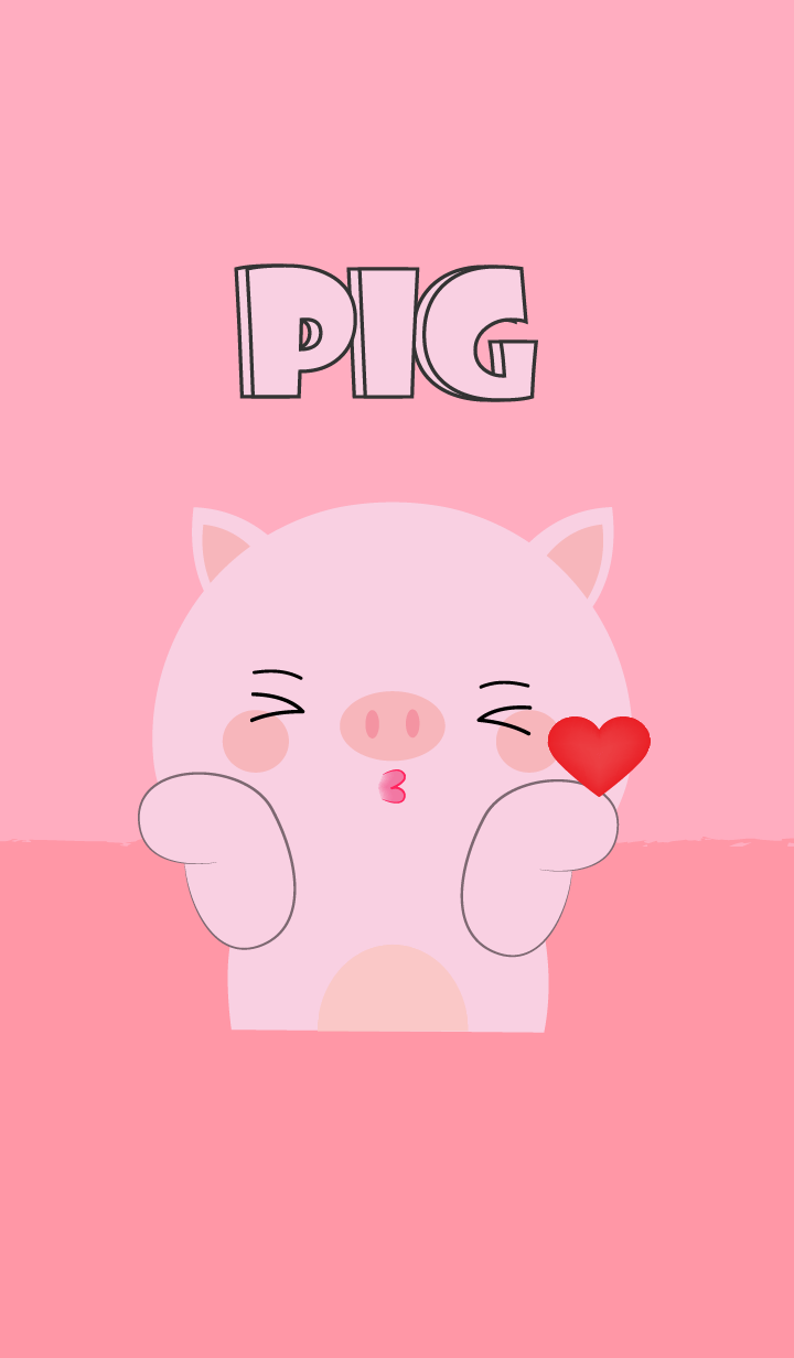 Love Love Cute Pink Pig Theme
