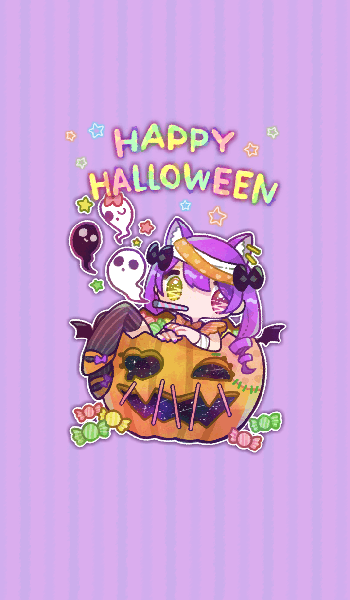Cute Halloween with a ghost.