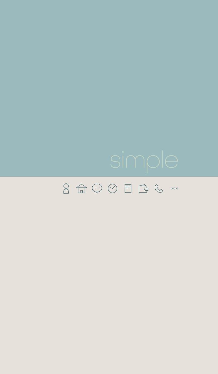 シンプル - ブルー&ベージュ