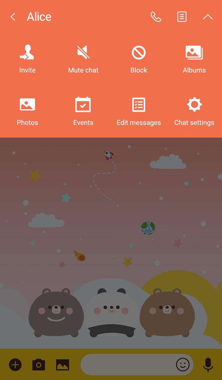 misty cat-Cute Bears Galaxy Orange