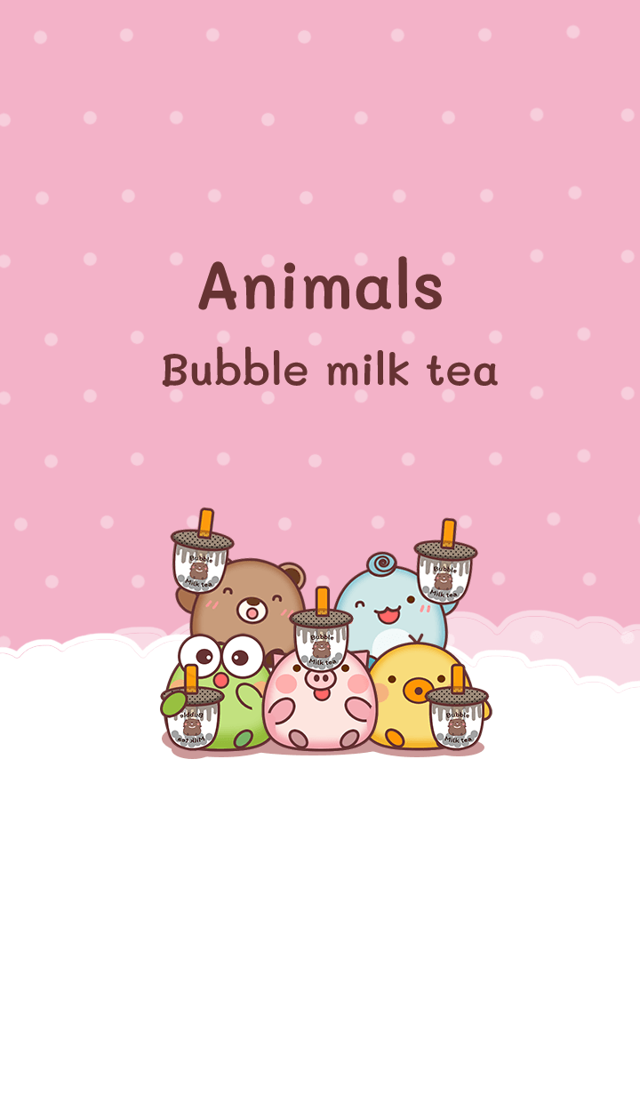 Happy animals & Bubble milk tea pink