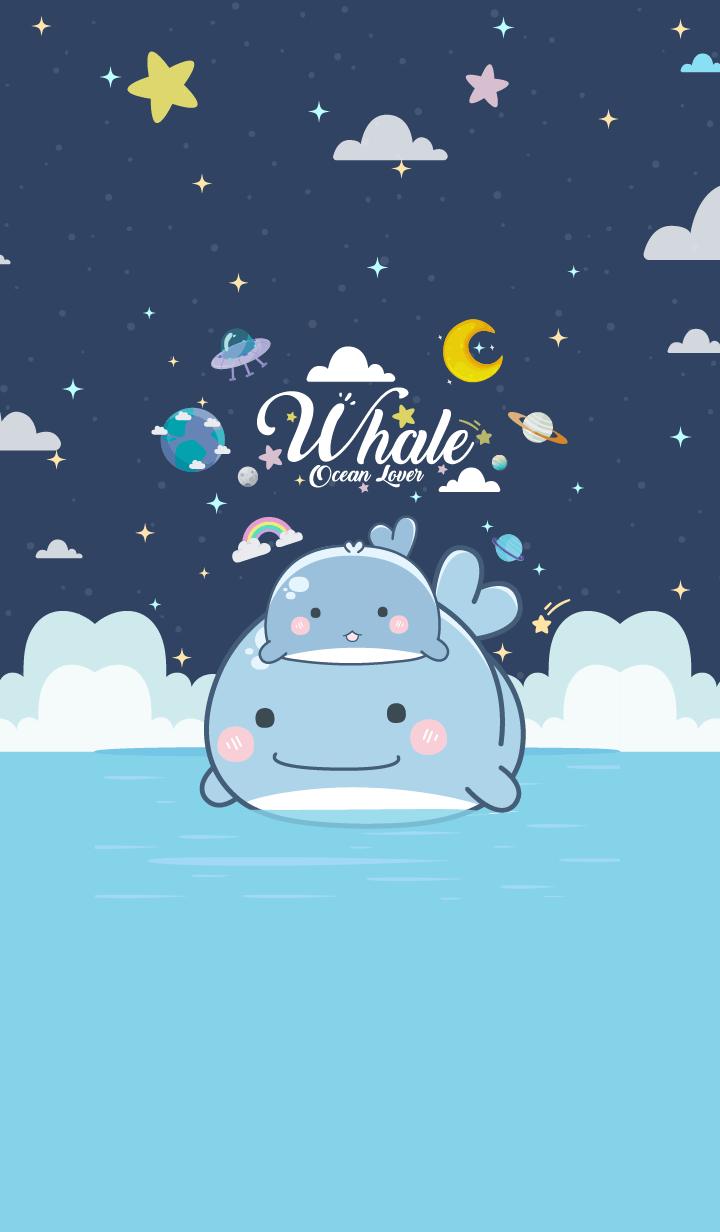 Whale Ocean Night Blue