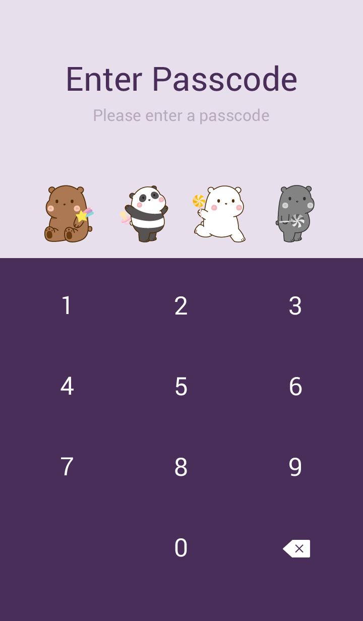 Kawaii Cute Bear purple