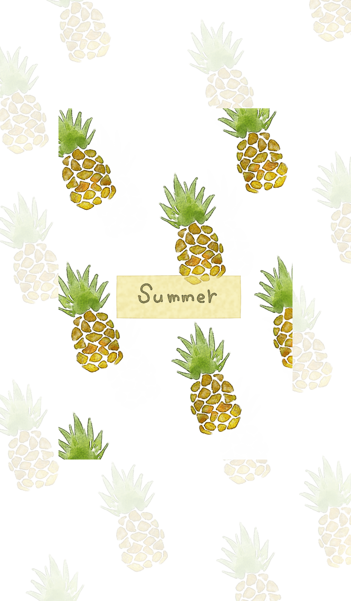 Watercolor refreshing pineapple3.