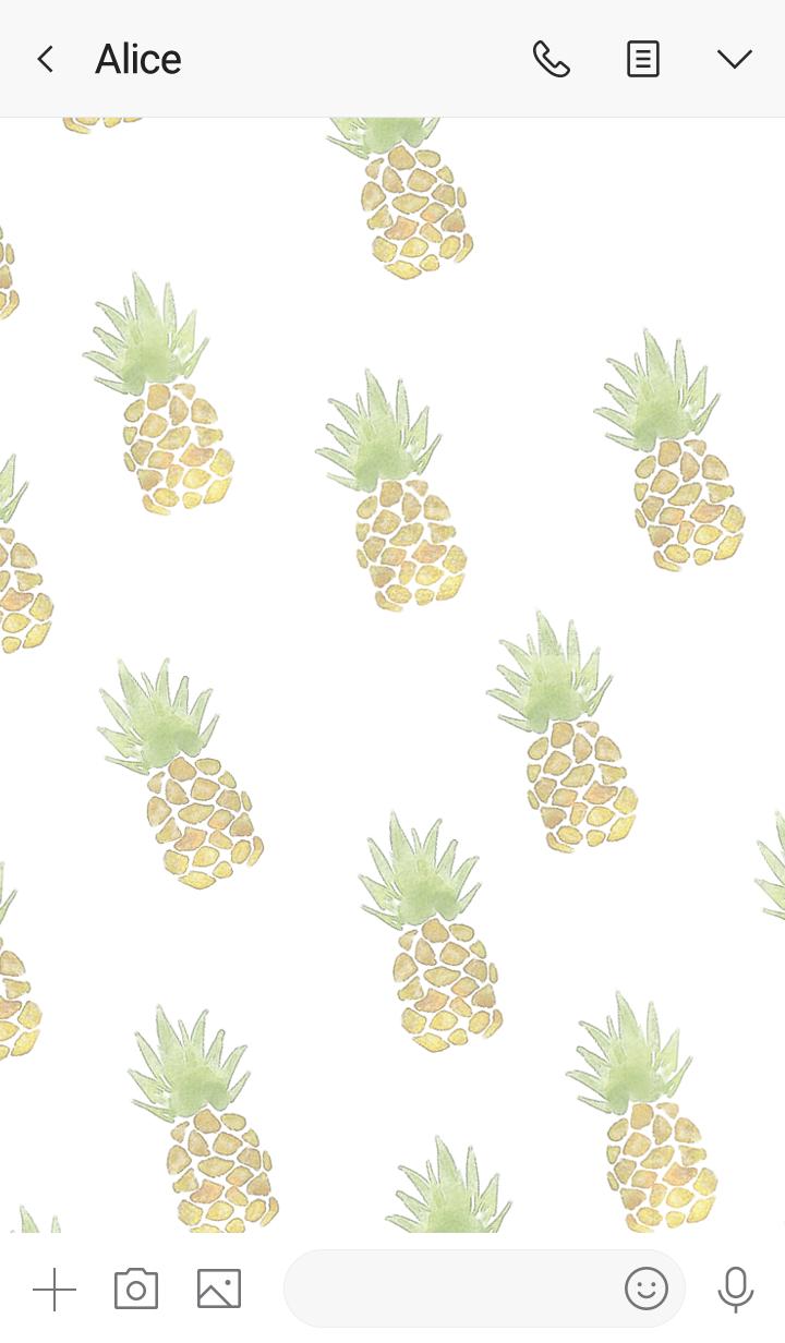 Watercolor refreshing pineapple3.