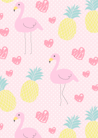 Flamingo and pineapple-Pink dot-
