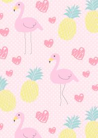 Flamingo and pineapple-Pink dot-