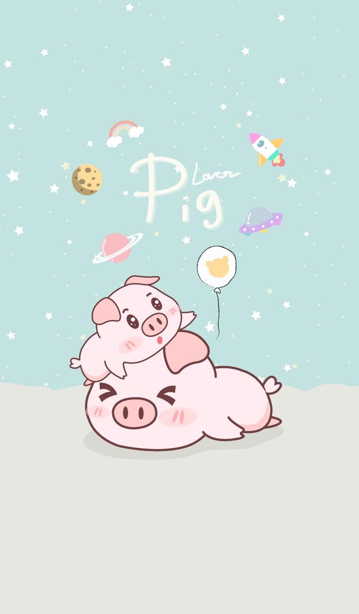 Pig Lover. blue