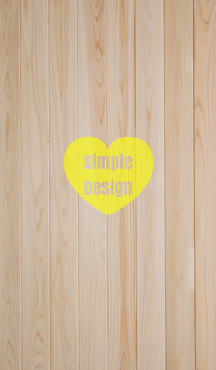 Wood Simple Design Heart Yellow ver.