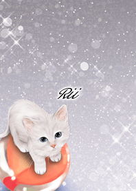 Rii White cat and marbles