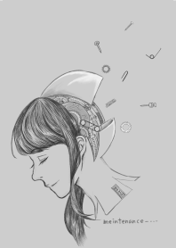 Monochrome steampunk android Sketch