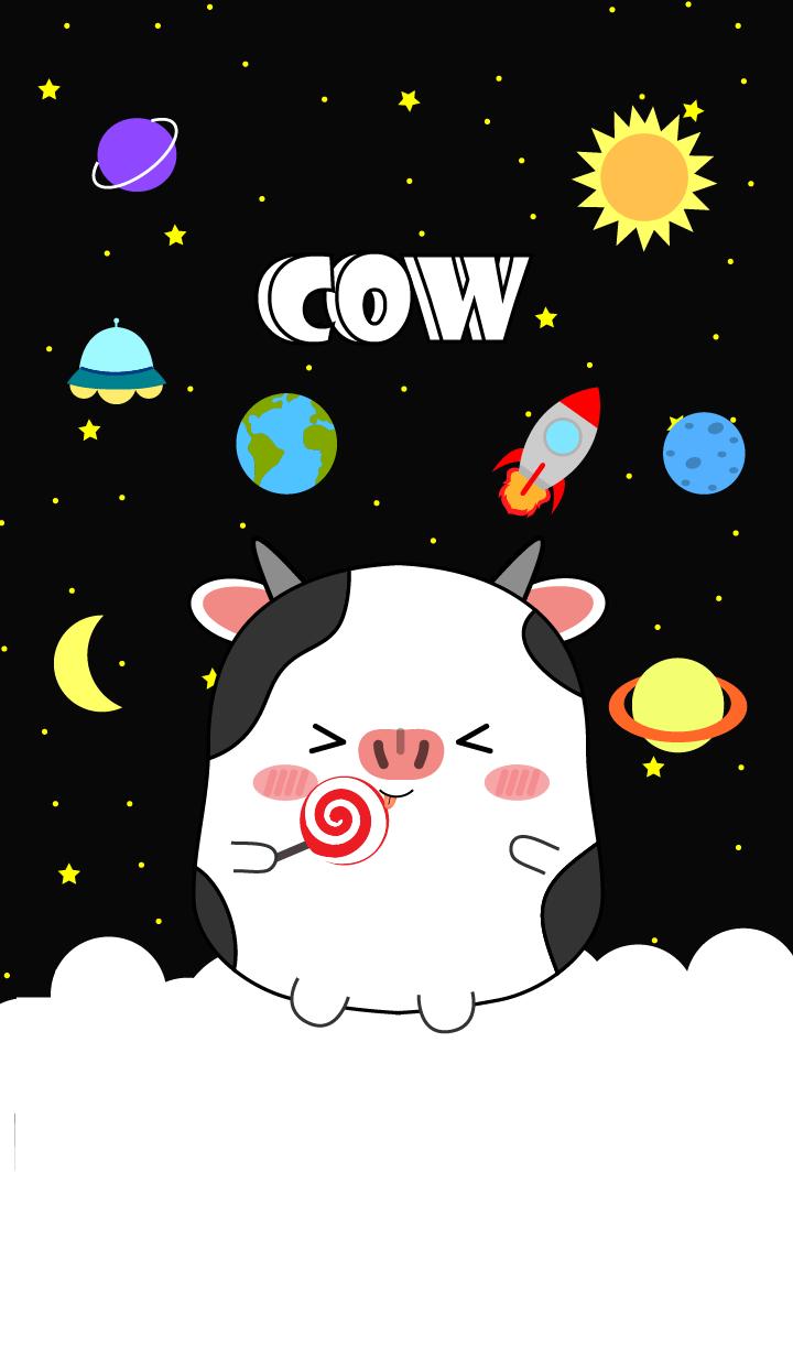 Cute Cow In Galaxy