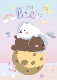 cute Bear on galaxy.