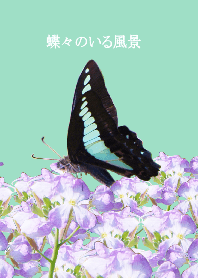 the landscape with butterflies (green)