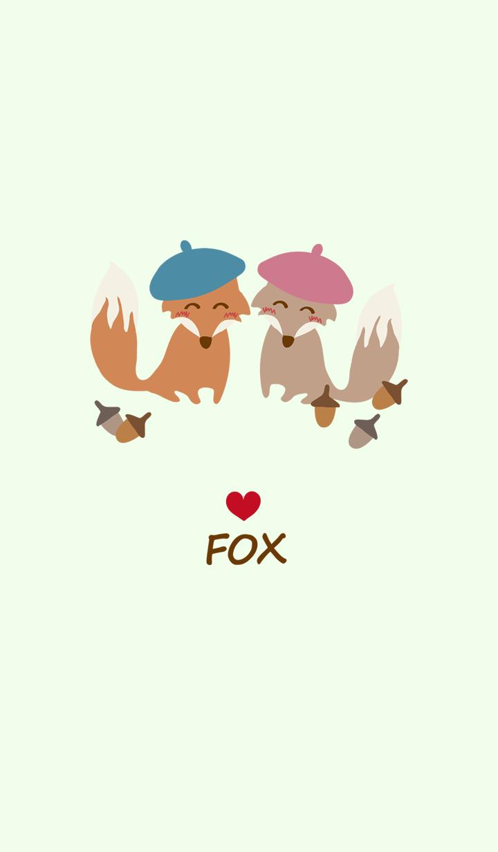 Cute beret fox couple stall