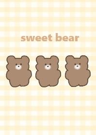 sweet bear -yellowbeige check
