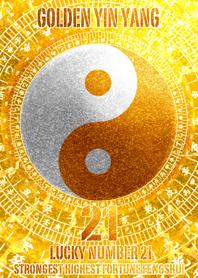 Golden Yin Yang Lucky number 21