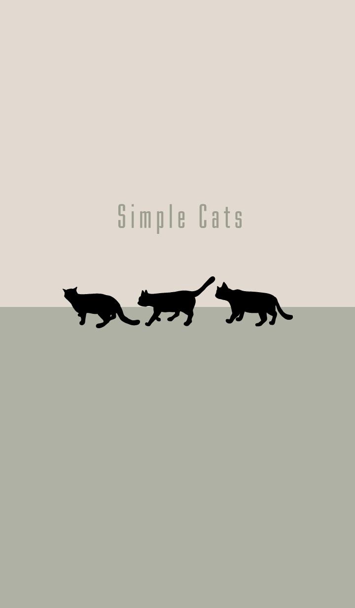 シンプルな猫:カーキグリーンベージュ